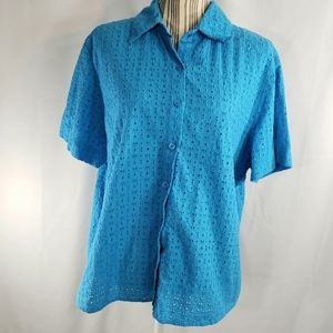 Alfred Dunner Blue Button Down Top Size 20